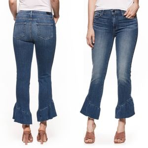 Paige Floral Ruffle Hem Straight Leg Jeans @5